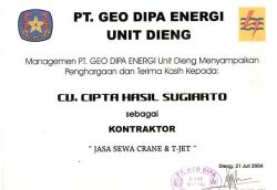 Penghargaan 2004AppreciationPT Geo Dipa Energi Unit Dieng 2075